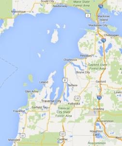 Traverse City region, Google maps Mar 2016