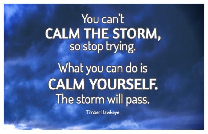 stress, calm storm